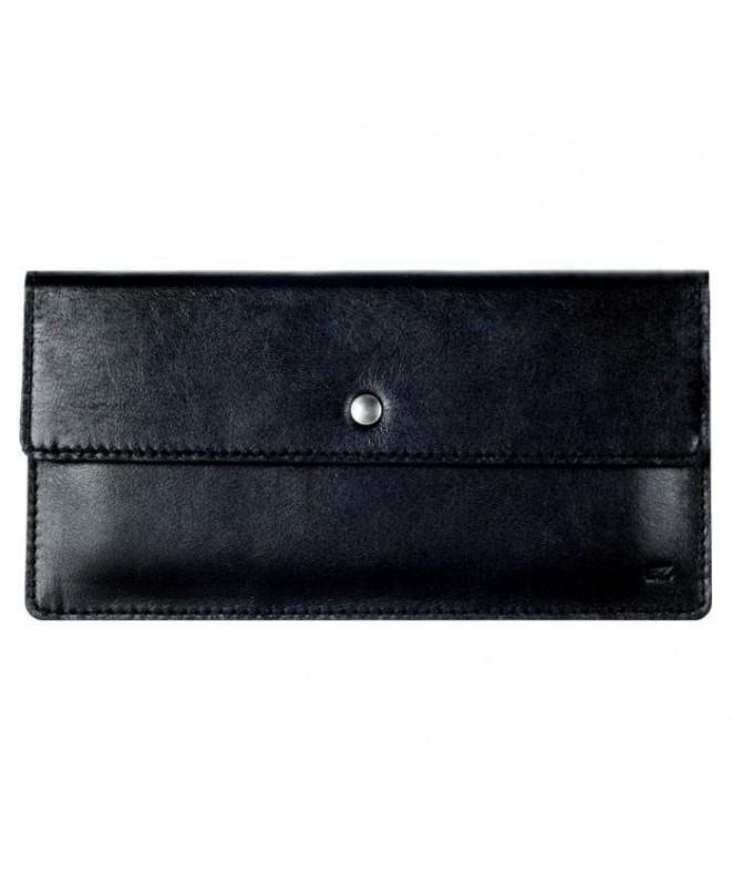 Кожаный Кошелек Ezcase Flat из натуральной кожи (Черный)