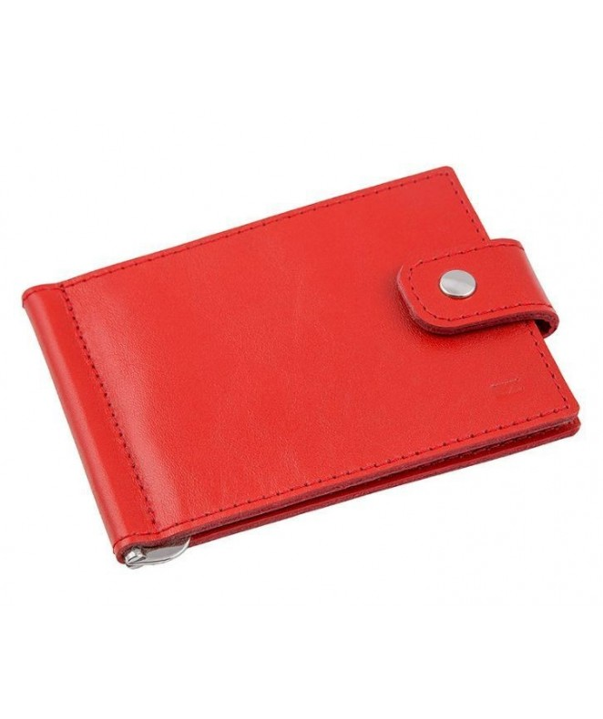 Кожаный зажим для денег Ezcase Standart из натуральной кожи (Красный)
